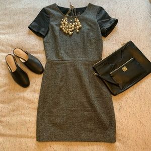 Barney's New York CO-OP Leather and tweed dress